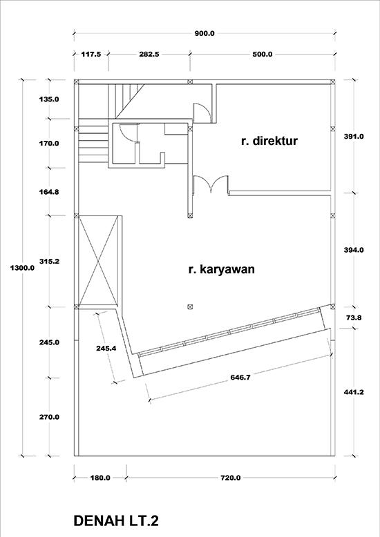 Denah 3 lantai desain kantor modern minimalis dengan coffee shop