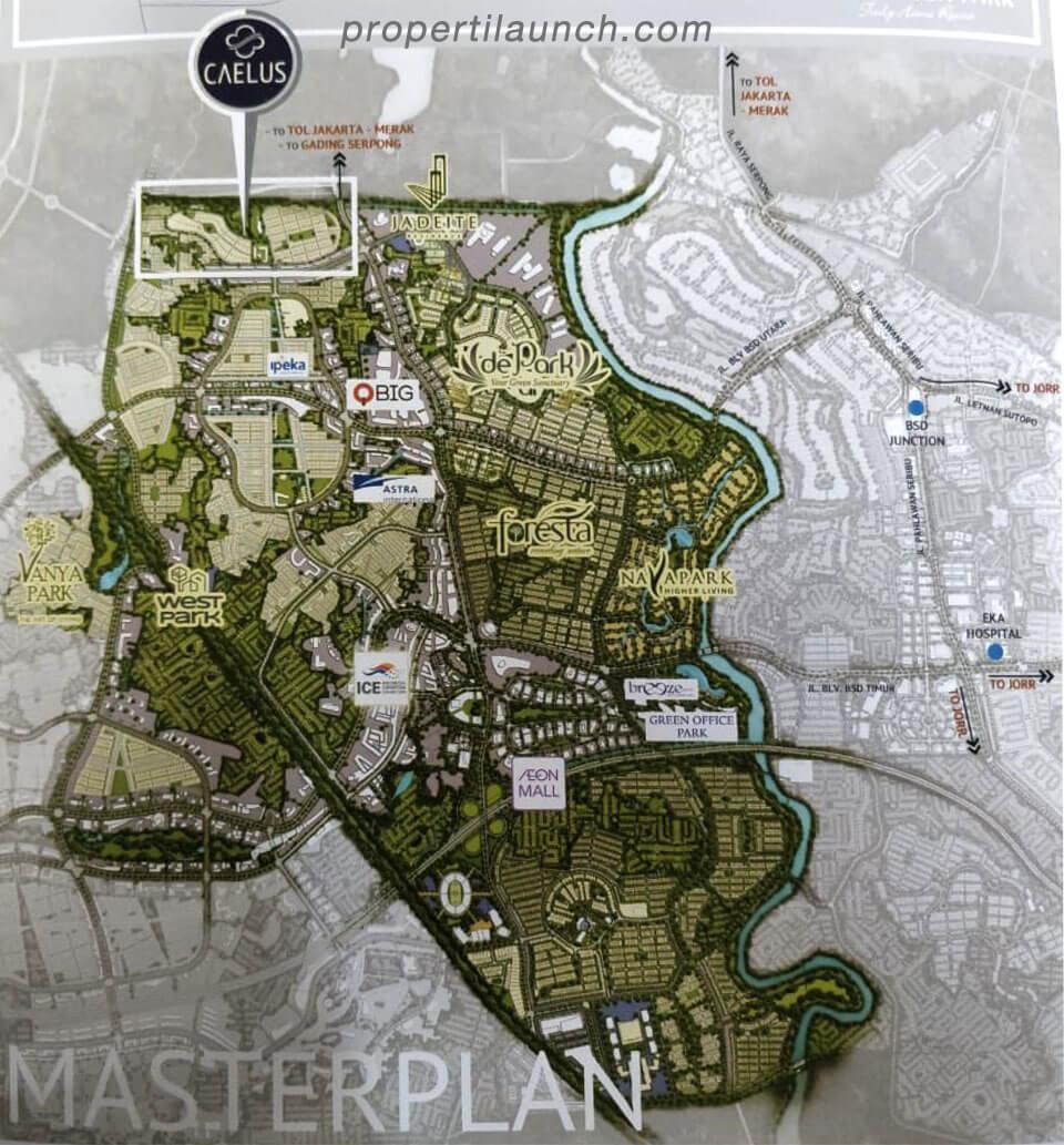 Peta Lokasi Cluster Caelus Greenwich Park BSD