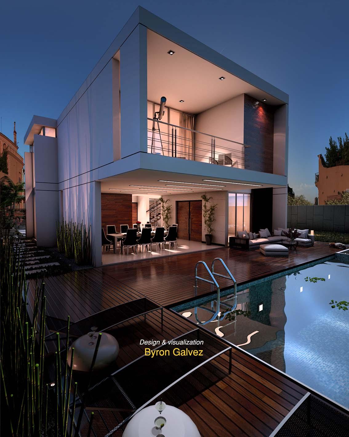 Free sketchup model Pool House #38 nigth scene