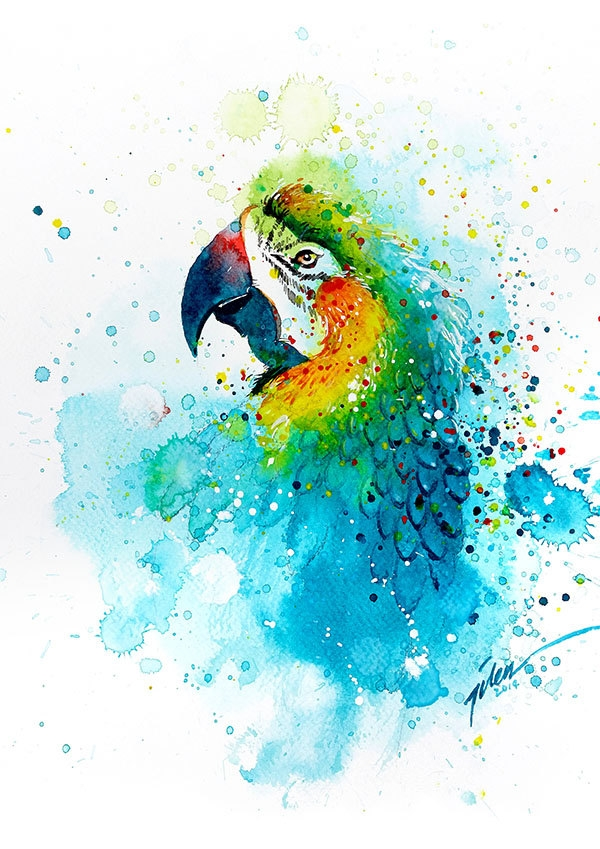 02-Parrot-Tilen-Ti-Colorful-Watercolor-Paintings-of-Animals-www-designstack-co