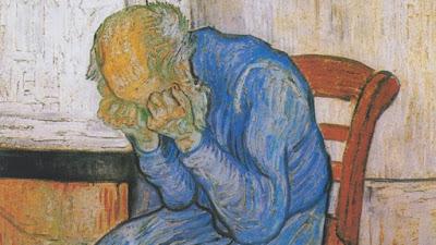"Detalhe de ""Sorrowing old man"" (1890). Pintura de Vincent van Gogh (1853-1890) exposta no Kröller-Müller Museum em Otterlo nos Países Baixos."