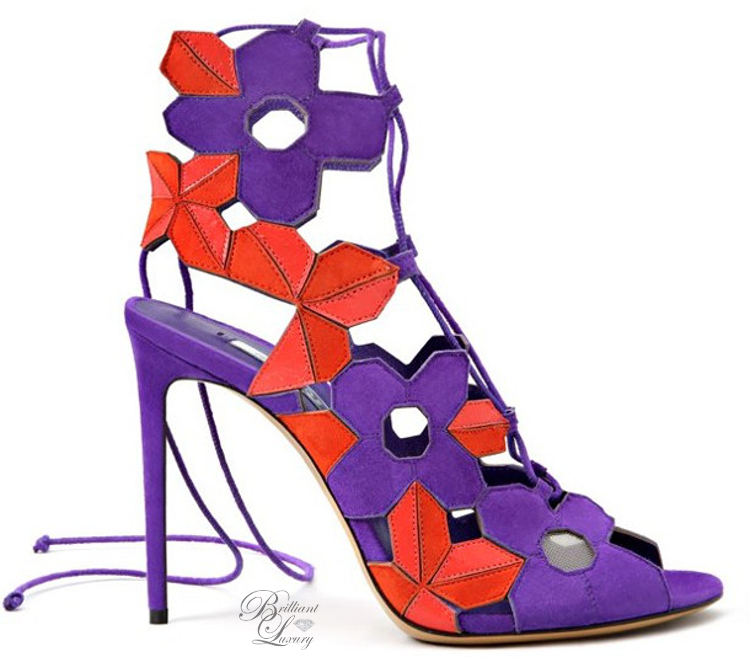 Brilliant Luxury ♦ Casadei Laser-cut suede and leather sandal