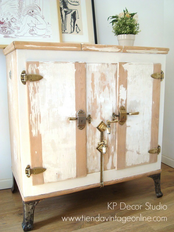 Comprar muebles vintage madera decapada estilo nórdico y rústico. Neveras de hielo