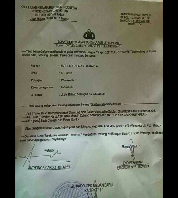 Surat tanda laporan kehilangan ponsel Anthony