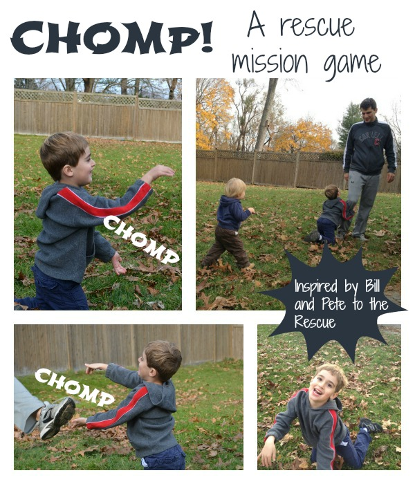Chomp!: a game to get moving, inspired by Bill and Pete to the Rescue by Tomi dePaola