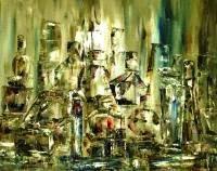 Original oil painting on canvas Perfume andlipstick