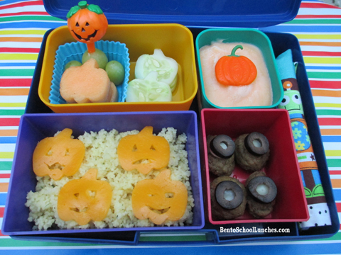 Halloween Pumpkin Patch with spooky eyes Bento