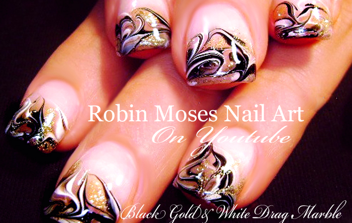 Nail Art By Robin Moses No Water Marble Design Tutorial