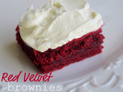 Red Velvet Brownies are soft, moist and topped with a creamy White Chocolate Buttercream Frosting. Life-in-the-Lofthouse.com
