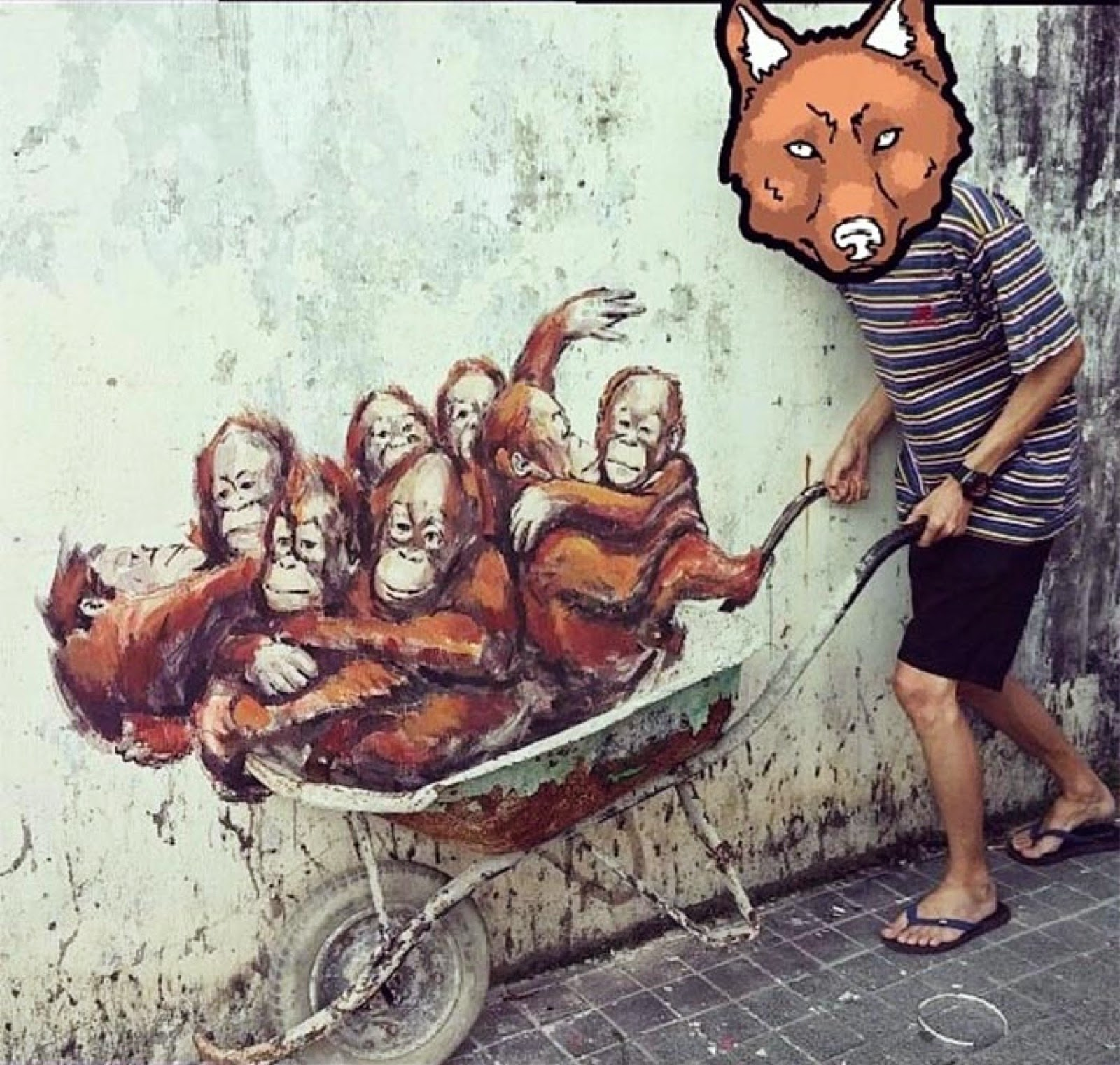 While we last heard from him last week in Italy (covered), Ernest Zacharevic is now back in Malaysia where he spent his Sunday afternoon working on a new series of pieces around Kuching.