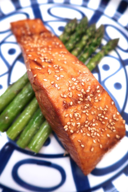 Oven Grilled Maple-Soy-Sesame Salmon & Asparagus