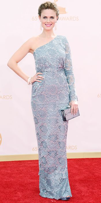 Emily Deschanel in a custom Houghton gown, a label designed by Katharine Polk at the 65th Annual Primetime Emmy Awards, 2013