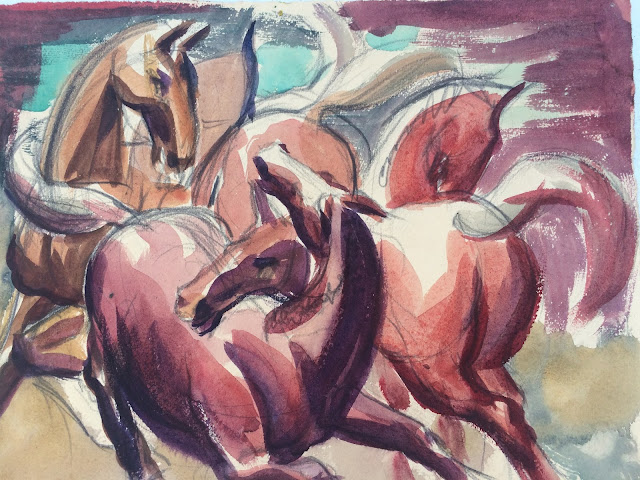 image of horses, watercolor painting of horses by Francis J. Quirk