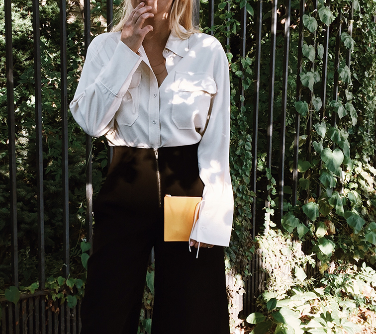 heleneisfor x aritzia babaton 101, marc jacobs silver boots, want les essentiels yellow pouch