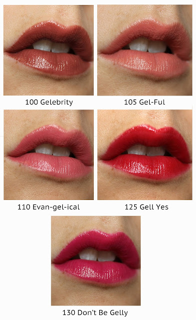 Covergirl Melting Pout Gel Liquid Lipstick 100 Gelebrity 105 Gel-ful 110 Even-gel-ical 125 Gell Yes 130 Don't Be Gelly review swatch swatches