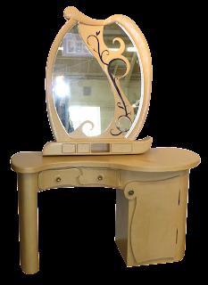 Coiffeuse en carton, meuble en carton et cadre miroir en carton, finition kraft par Cartons Dudulle, à Albi