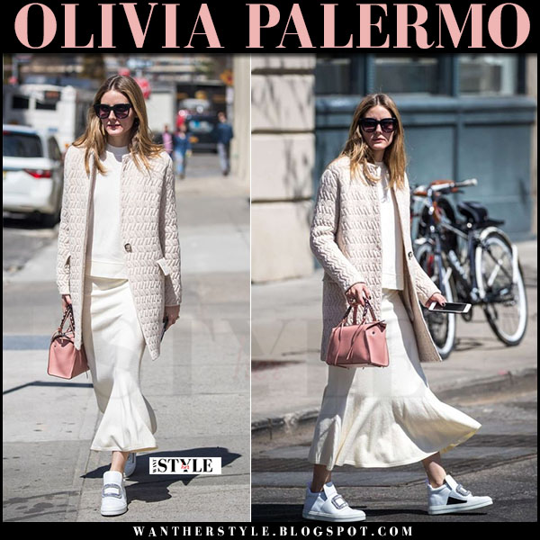 Olivia Palermo in cream max and co coat, white skirt and white roger vivier sneakers what she wore april 2017