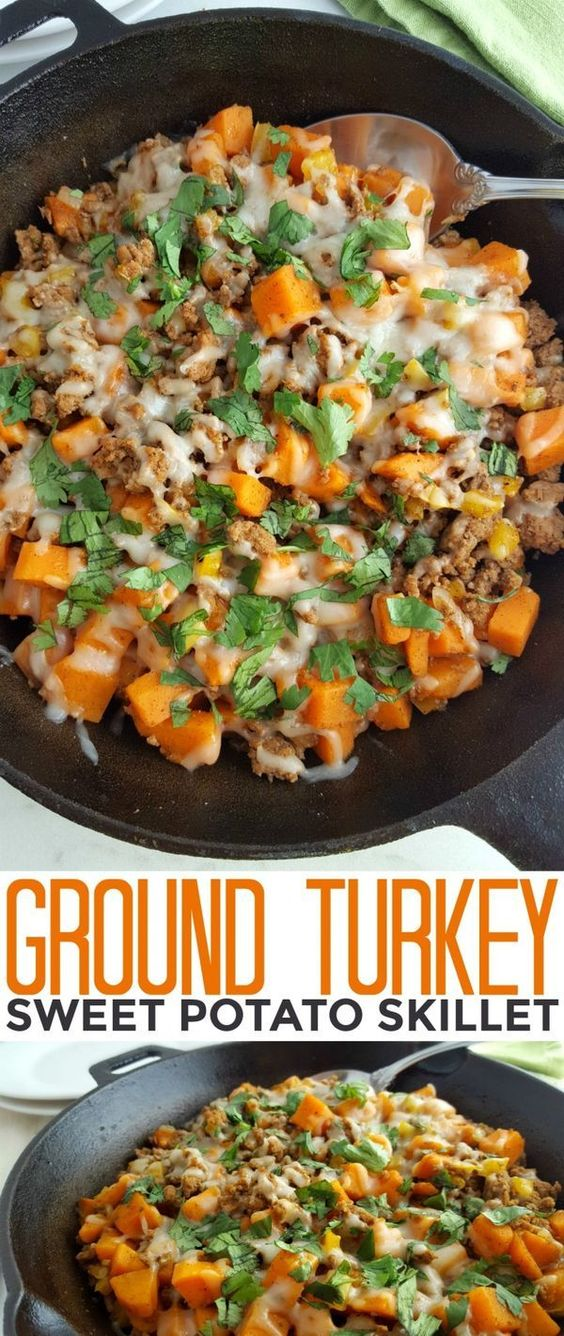 This Ground Turkey Sweet Potato Skillet is a healthy gluten free meal that is full of flavour and perfect to feed your family quickly on busy weeknights!