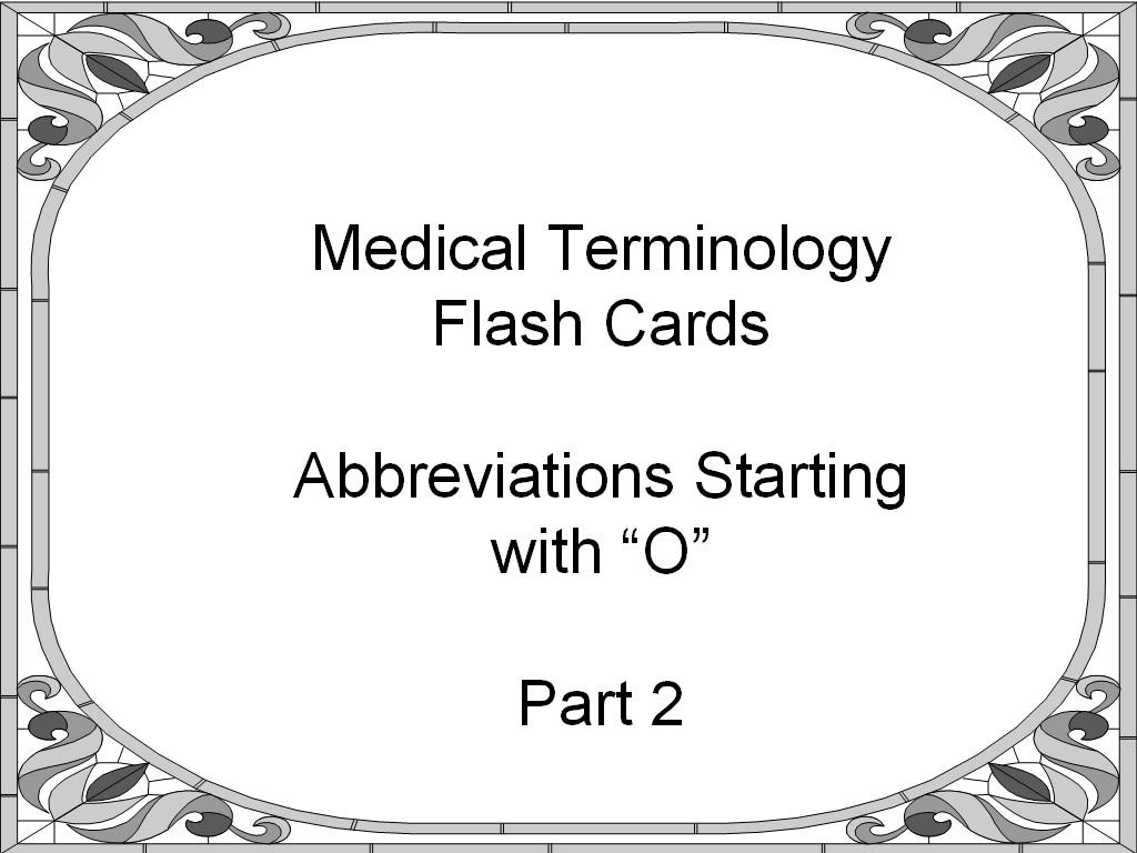 Medical Terminology Abbreviation Flash Cards