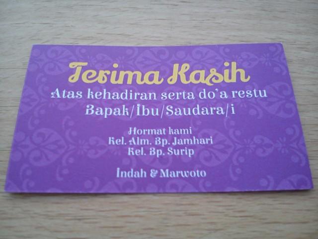 Kartu Ucapan Terima Kasih Untuk Souvenir Pernikahan Azfa Offset