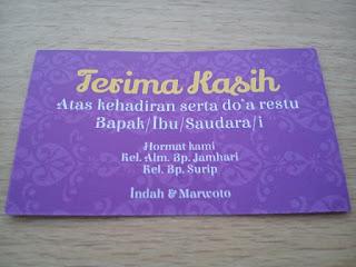 contoh kartu ucapan terima kasih untuk souvenir pernikahan