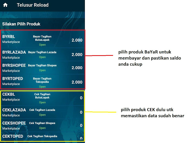 Cara Pakai Telusur Reload untuk Bayar Belanja Online (TOkopedia, Bukalapak, Shopee, Lazada) 2