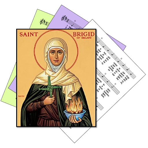 St Brigid / Brighid / Bridget - superimposed on hymns