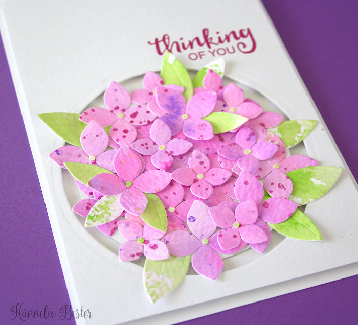 hydrangea card with Fri-Dies 4 petal die