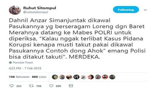 Komentari Pengawalan Dahnil Anzar saat Datangi Kantor Polisi, Ruhut Sitompul: Contoh Dong Ahok