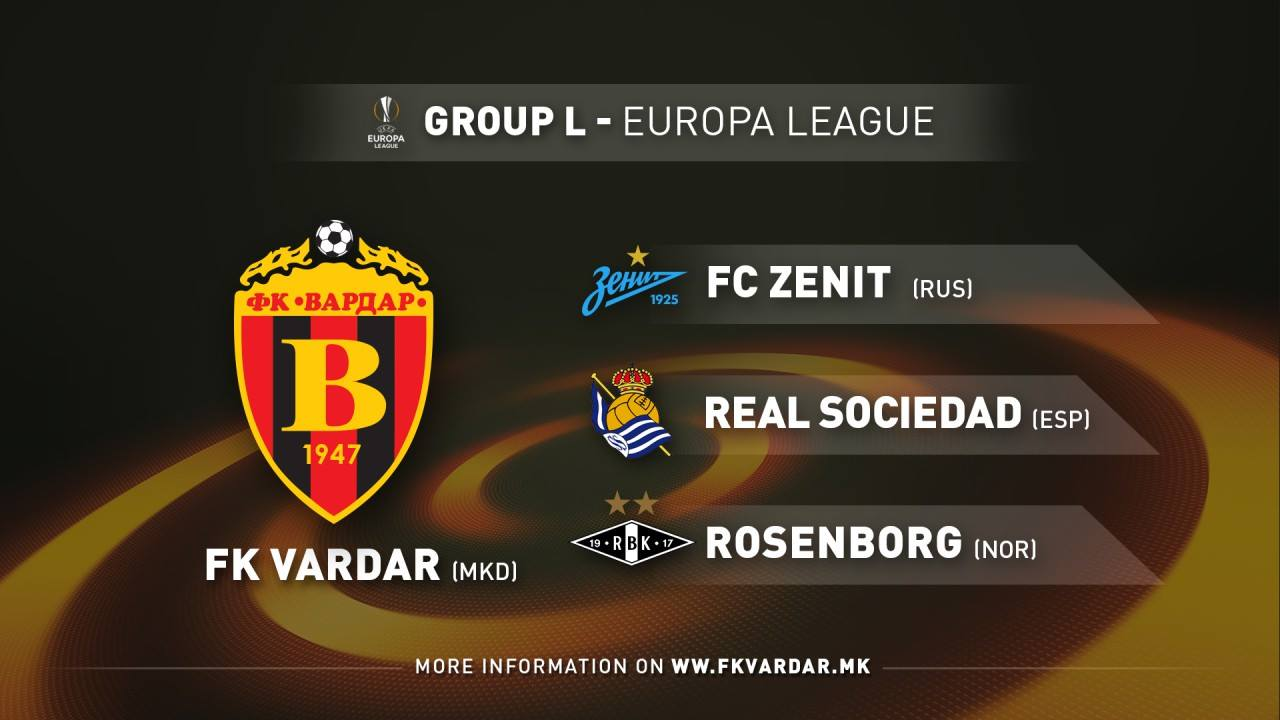 Vardar drawn against Zenit, Real Sociedad and Rosenborg