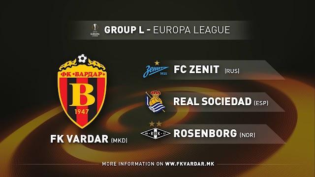 Vardar drawn against Zenit, Real Sociedad and Rosenborg