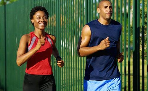 Black couple jogging