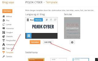 Pilih Menu Template lalu Klik Edit HTML