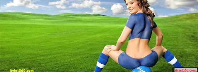 Ảnh bìa Facebook bóng đá - Cover FB Football timeline, gái đẹp girl xinh chơi bóng