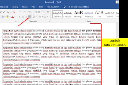 Langkah Mengatur Tulisan Rata Kiri Tengah Kanan di Ms.Word