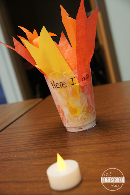 burning bush tea light craft for kids