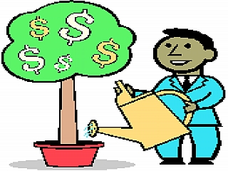 A cartoon picture of boy watering tree of money