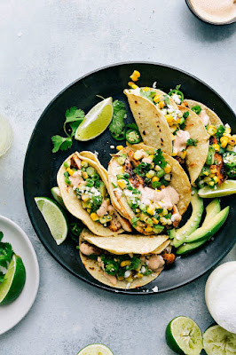 MEXICAN STREET CORN CHICKEN TACOS