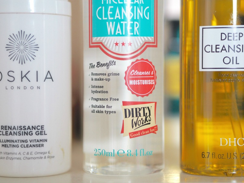 Oskia renaissance cleansing gel DHC cleansing oil Dirty works micellar water