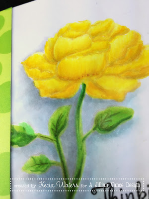 AJVD, Kecia Waters, no line coloring, Copics, yellow rose, rose