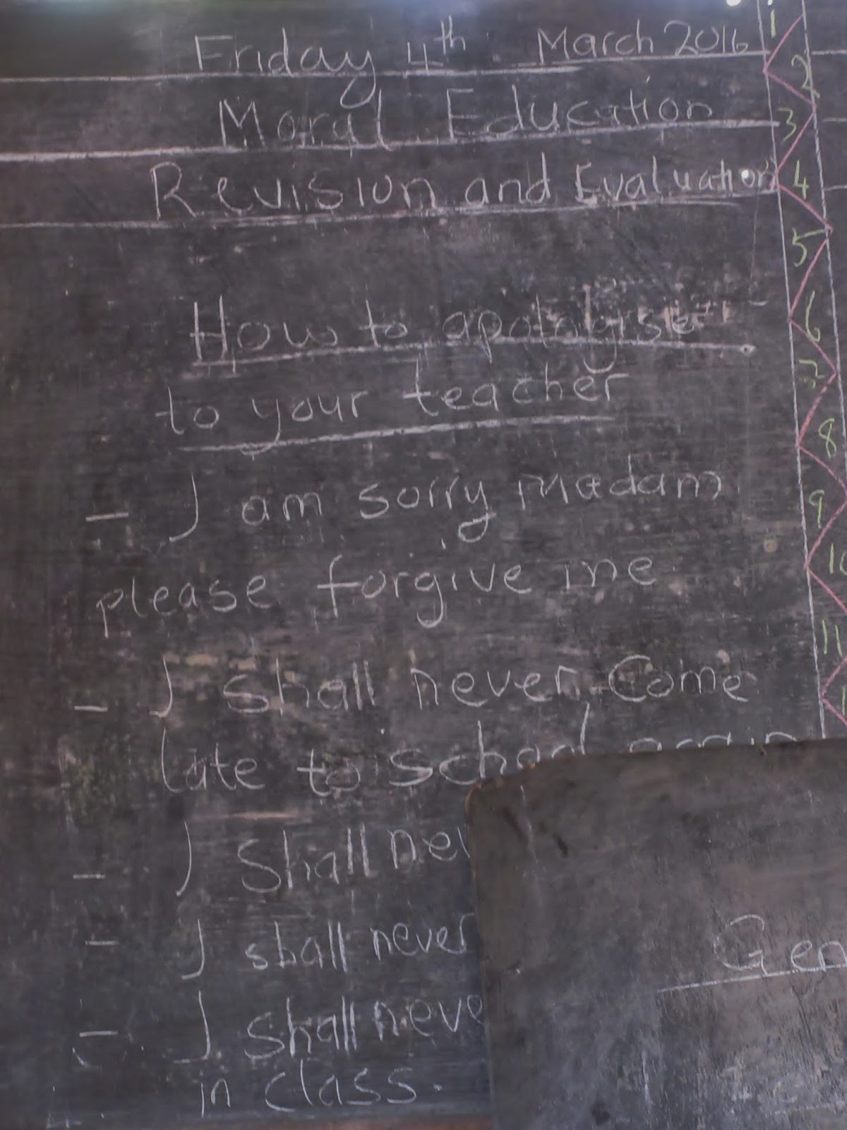 Moral Education In A Classroom In The Fon's Palace: How To Apologize To  Your Teacher