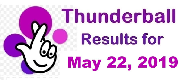 Thunderball results for Wednesday, May 22, 2019