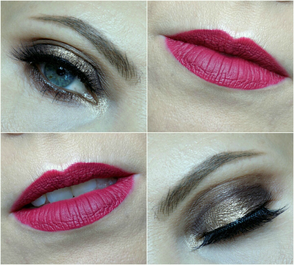 neutral eye look and raspberry lips