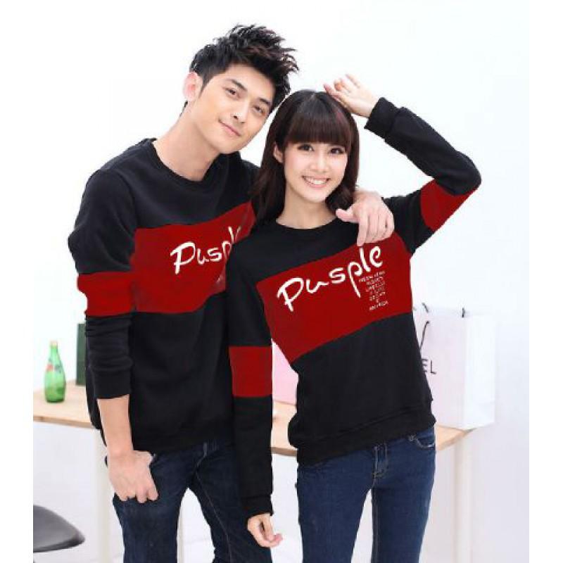 Jual Online Sweater Pusple Neo Black Maroon Couple Murah Jakarta Bahan Babytery Terbaru