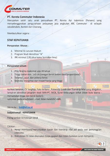 Lowongan Kerja Staff PT. Kereta Commuter Indonesia