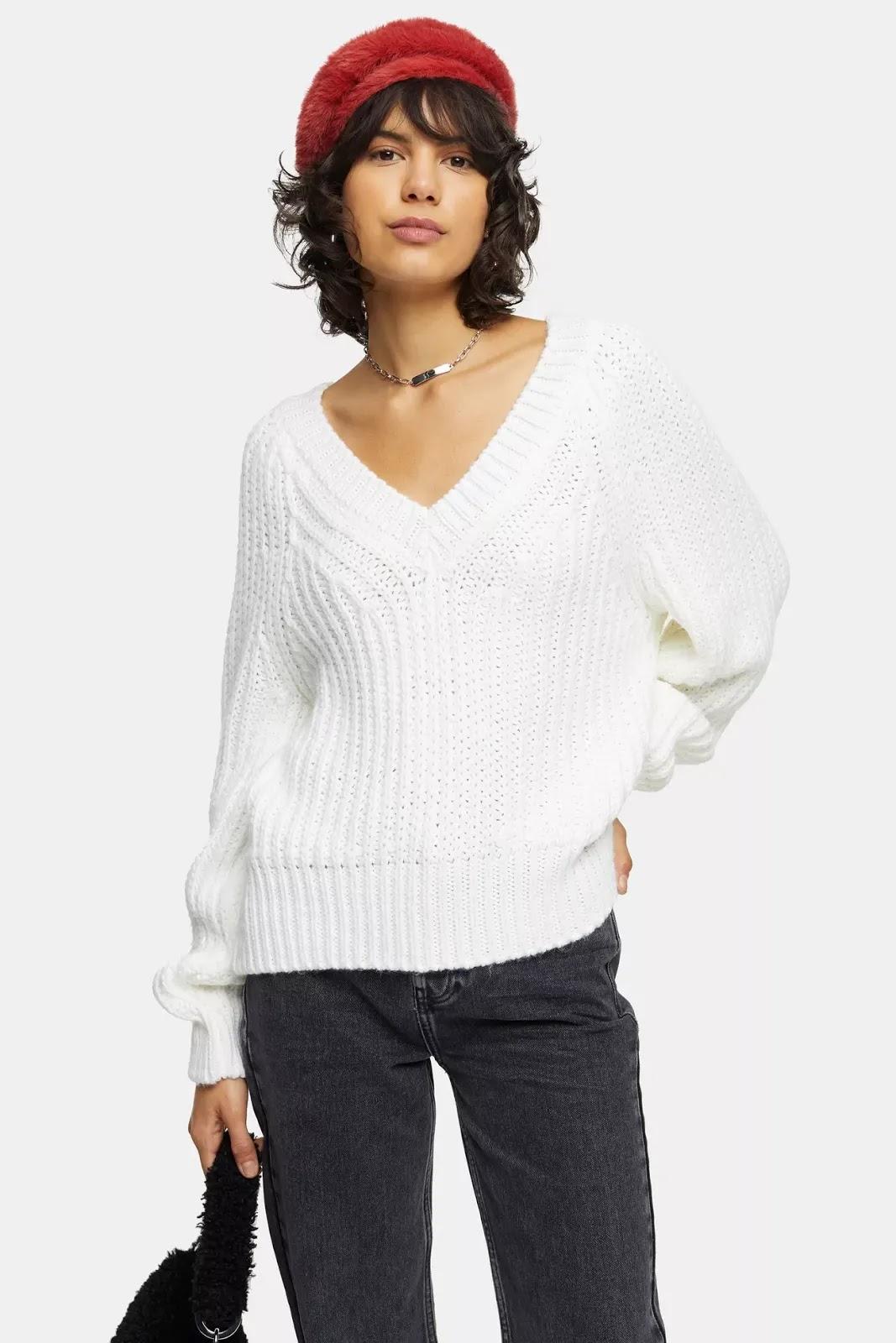 Oat Stripe V Neck Knitted Jumper