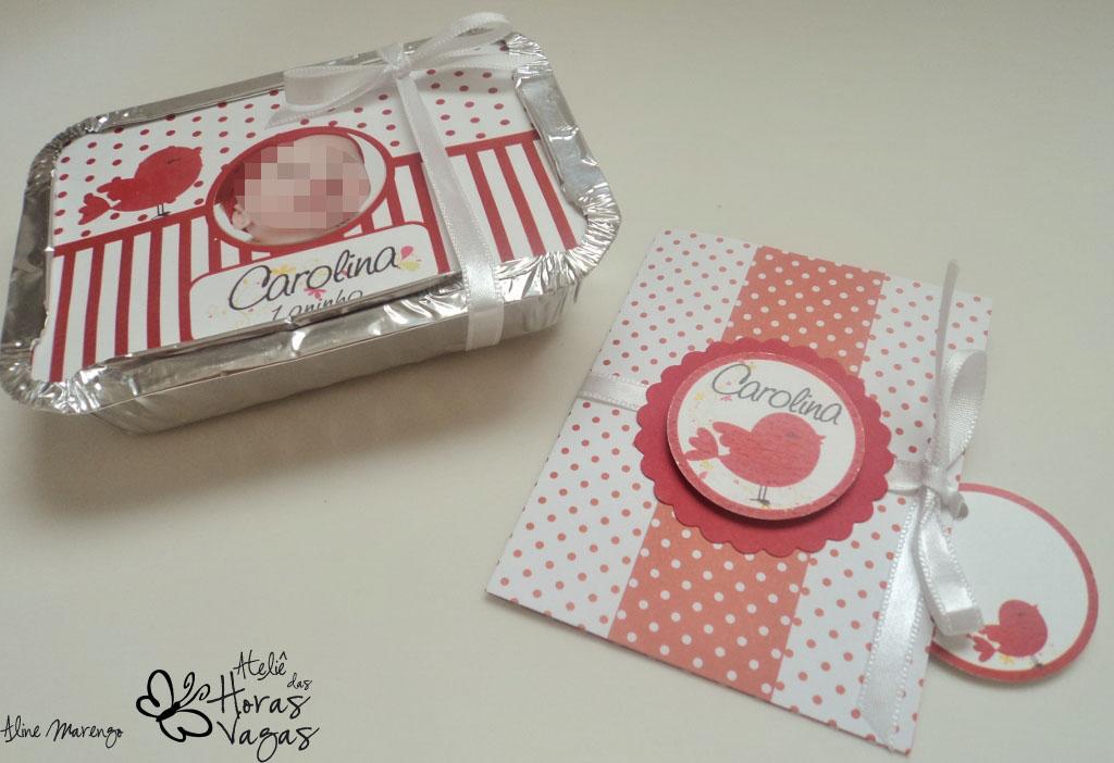 convite e marmitinha personalizada vermelho e branco passarinho foto aniversário 1 aninho
