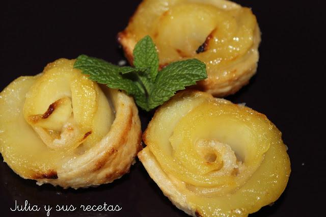 Rosas de hojaldre y manzana. Julia y sus recetas