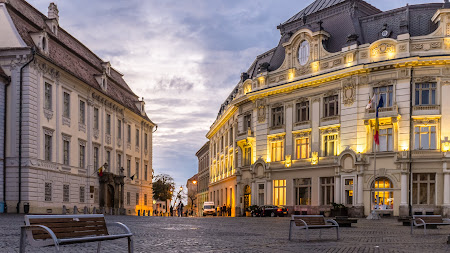 In the Big Square of Sibiu City, Transylvania HD