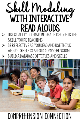 "With interactive read alouds, we can model important comprehension skills using the Think Aloud approach. By carefully selecting texts, we can ""double dip"" instruction."